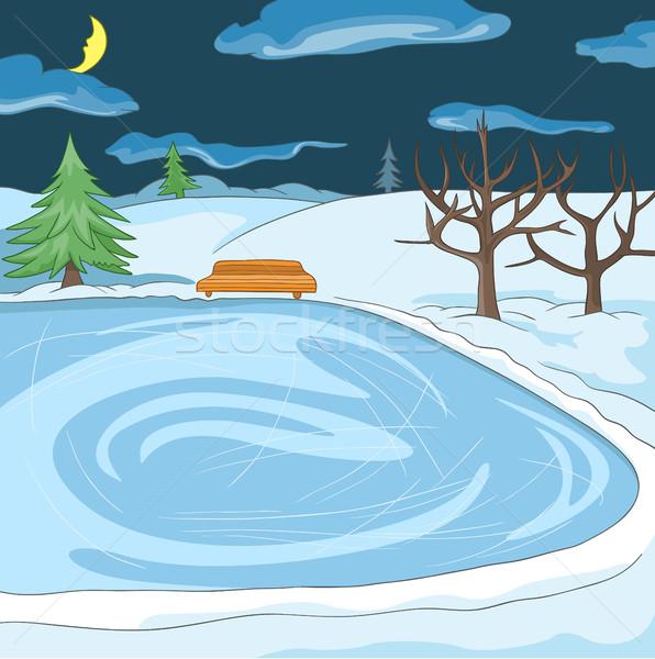 Cartoon background of outdoor skating rink. Stock photo © RAStudio