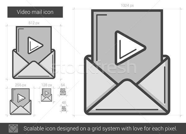 Stockfoto: Video · mail · lijn · icon · vector · geïsoleerd