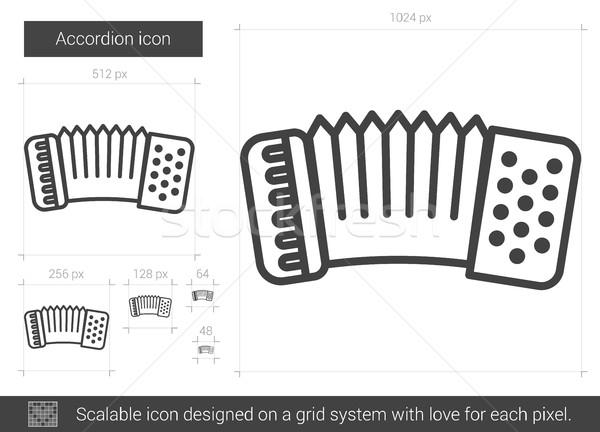 Accordeon lijn icon vector geïsoleerd witte Stockfoto © RAStudio
