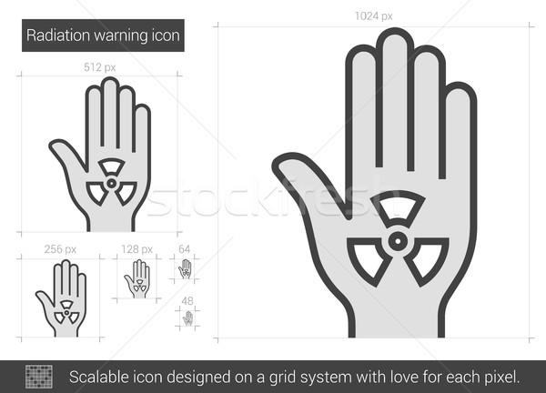 Stock fotó: Sugárzás · figyelmeztetés · vonal · ikon · vektor · izolált