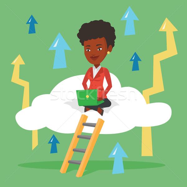 Сток-фото: деловой · женщины · сидят · облаке · ноутбука · рабочих