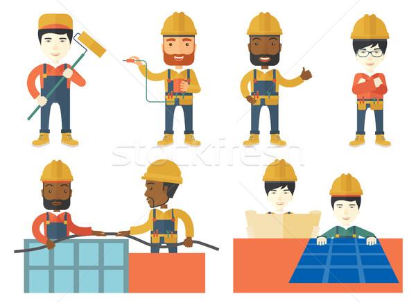 Vektor szett építők betűk villanyszerelő munka Stock fotó © RAStudio