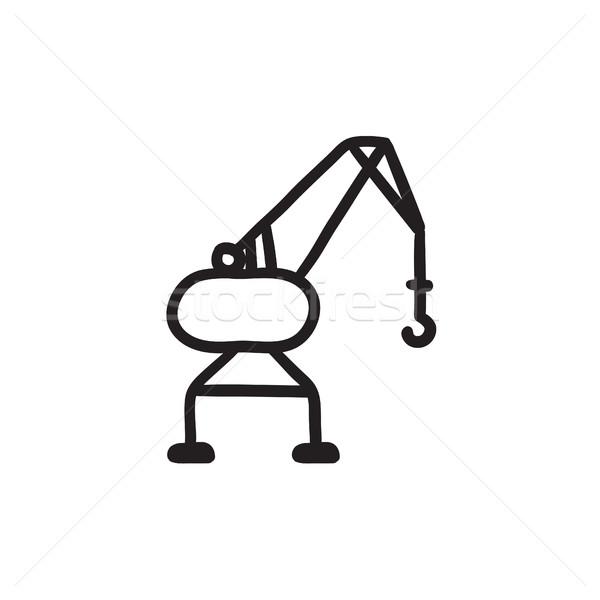 Harbor crane sketch icon. Stock photo © RAStudio