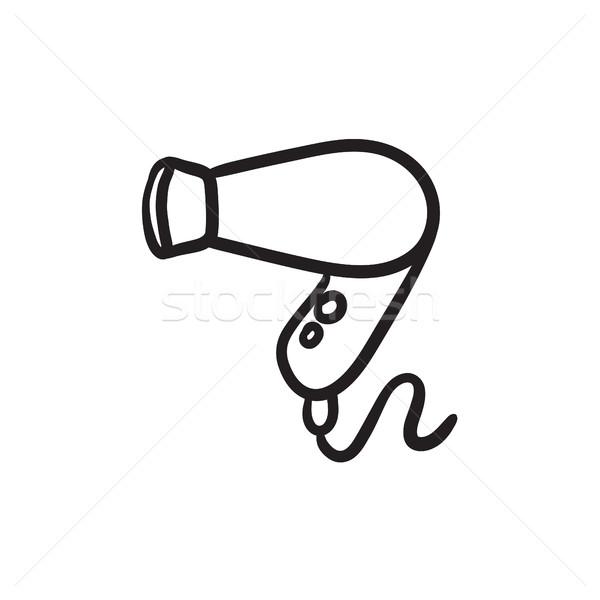 Hajszárító rajz ikon vektor izolált kézzel rajzolt Stock fotó © RAStudio