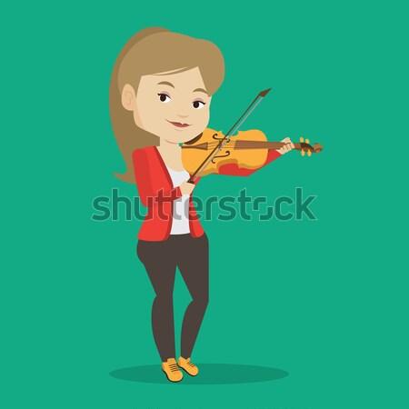 Nő játszik hegedű ázsiai női zenész Stock fotó © RAStudio