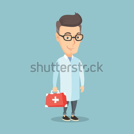 Doctor holding first aid box vector illustration. Stock photo © RAStudio