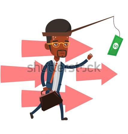 бизнесмен деньги удочка работает подвесной Сток-фото © RAStudio
