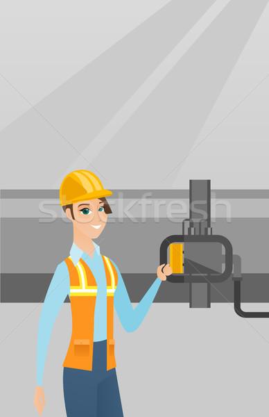 оператор детектор газ трубопровод кавказский Сток-фото © RAStudio