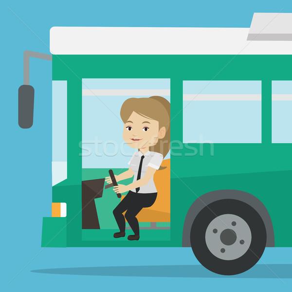 Stok fotoğraf: Kafkas · otobüs · sürücü · oturma · direksiyon · kadın
