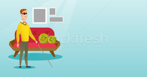 Blind man with a stick vector illustration. Stock photo © RAStudio