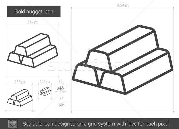 Stock photo: Gold nugget line icon.
