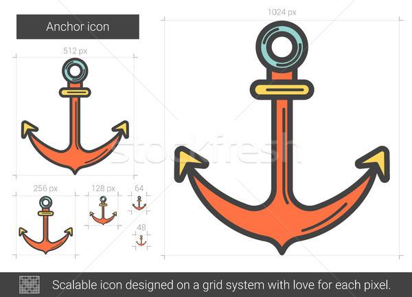 Ancla línea icono vector aislado blanco Foto stock © RAStudio