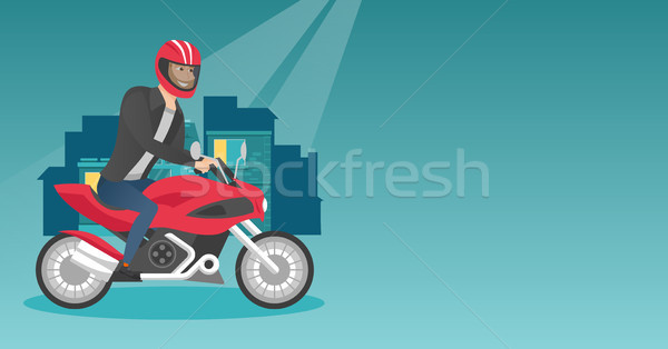 Young caucasian man riding a motorcycle at night. Stock photo © RAStudio