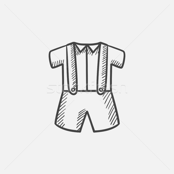 Baby shirt and shorts with suspenders sketch icon. Stock photo © RAStudio