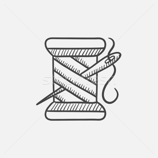 Stock fotó: Cséve · fonál · tű · rajz · ikon · háló