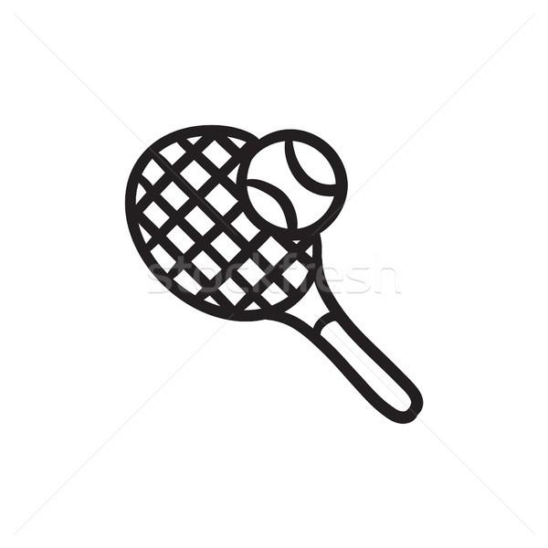 Tenis raketi top kroki ikon vektör yalıtılmış Stok fotoğraf © RAStudio