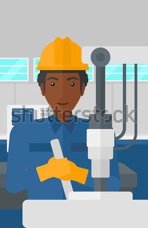 ストックフォト: 男 · 作業 · 産業 · 訓練 · マシン · 職場