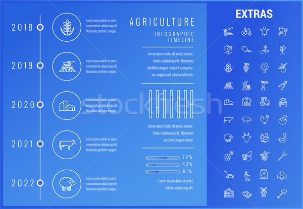 Mezőgazdaság infografika sablon elemek ikonok idővonal Stock fotó © RAStudio