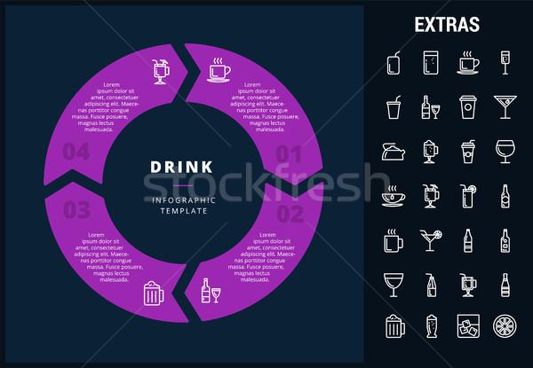 пить шаблон Элементы иконки настраиваемый Сток-фото © RAStudio