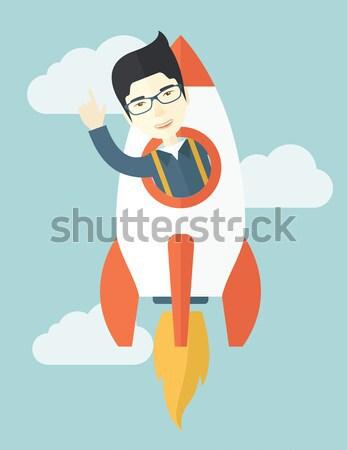 Mulher de negócios mulher escrita virtual tela Foto stock © RAStudio