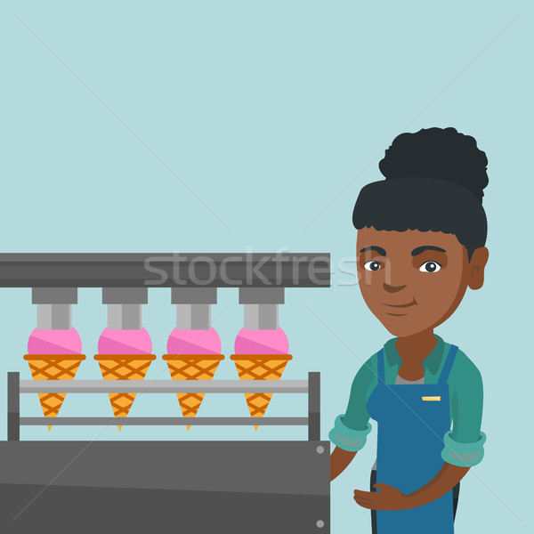 African worker of factory producing ice-cream. Stock photo © RAStudio