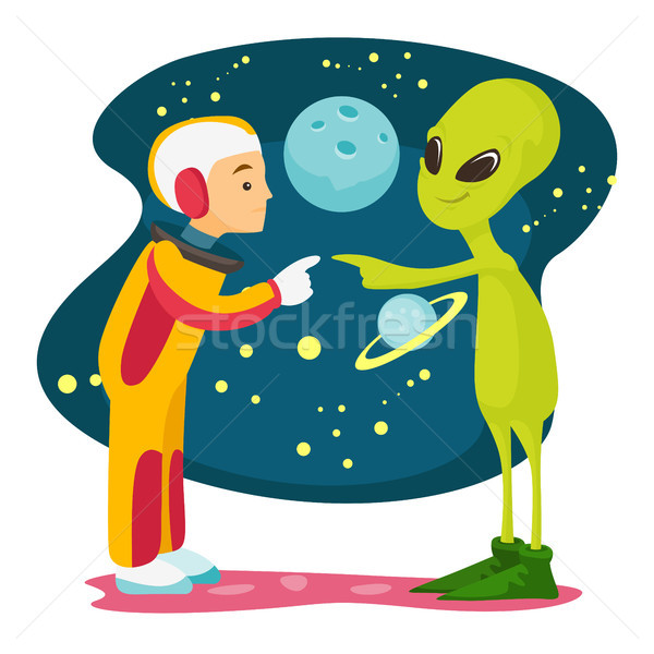 Astronaut and alien meet for the first time. Stock photo © RAStudio