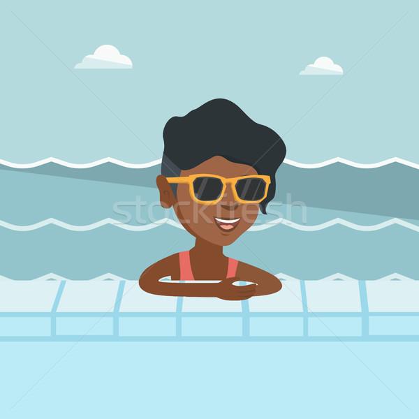 Stok fotoğraf: Genç · Afrika · kadın · rahatlatıcı · yüzme · havuzu