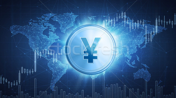Yuan or yen coin on hud background with bull stock chart. Stock photo © RAStudio