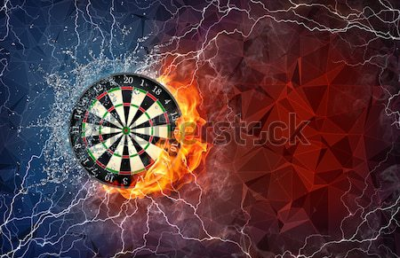 Darts board flying on world map background. Stock photo © RAStudio
