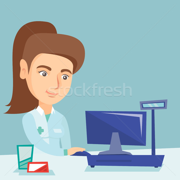 薬剤師 作業 コンピュータ ドラッグストア 白人 医療 ストックフォト © RAStudio