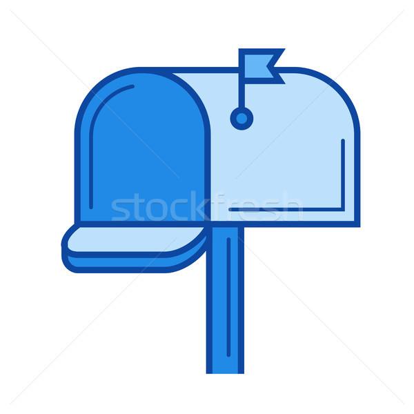 почтовый ящик линия икона изолированный белый Сток-фото © RAStudio