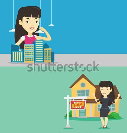 年輕女子 畫 家庭 房子 年輕 亞洲的 商業照片 © RAStudio