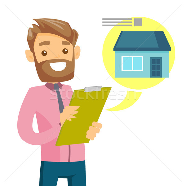 Caucasian man reading real estate advertising. Stock photo © RAStudio
