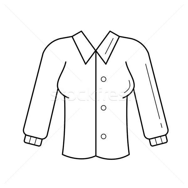 Blouse vector lijn icon geïsoleerd witte Stockfoto © RAStudio