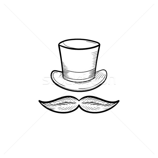Top hat with mustache hand drawn outline doodle icon. Stock photo © RAStudio