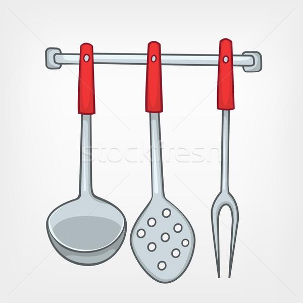 Cartoon domu kuchnia łyżka zestaw odizolowany Zdjęcia stock © RAStudio