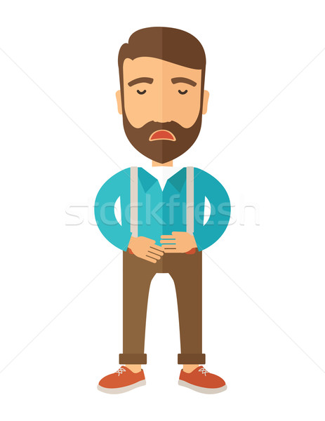 Man standing while holding his stomach has a abdominal pain. Stock photo © RAStudio