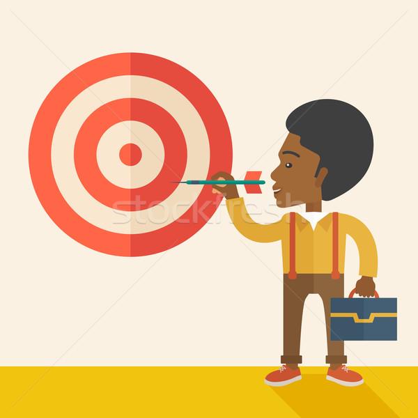 çalışma siyah adam hedef ok strateji Stok fotoğraf © RAStudio
