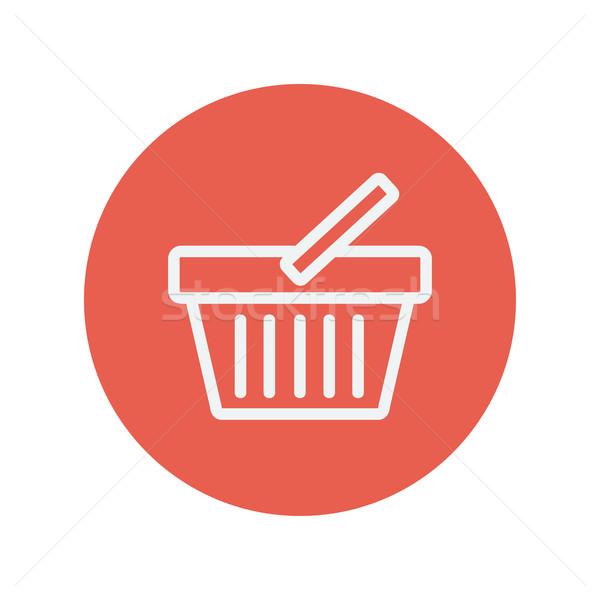 Bevásárlókosár vékony vonal ikon háló mobil Stock fotó © RAStudio