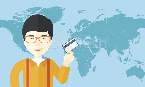 Boldog japán üzletember áll tart hitelkártya Stock fotó © RAStudio