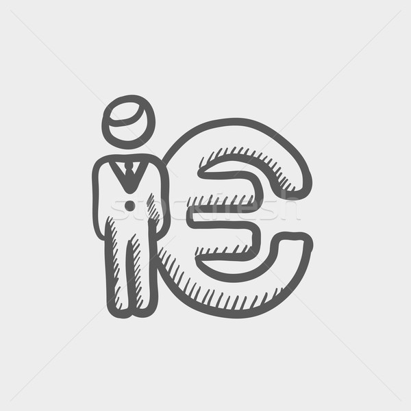Man standing beside the Euro symbol sketch icon Stock photo © RAStudio