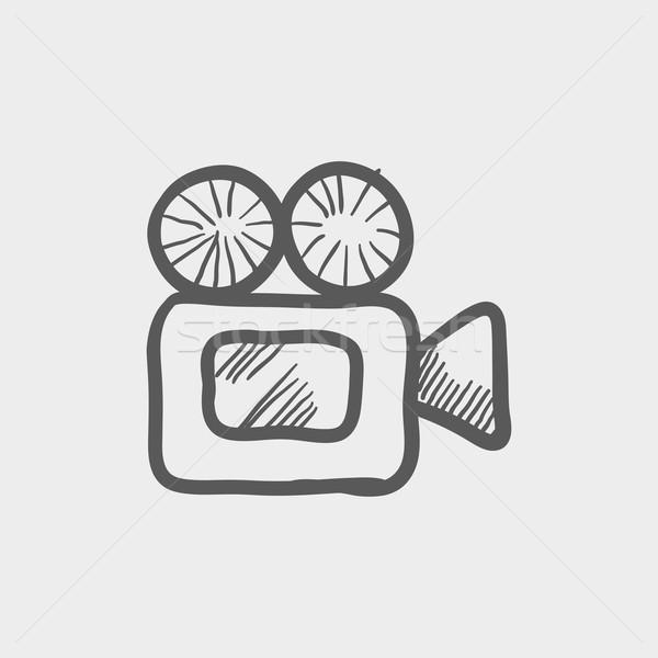 Filmadora esboço ícone teia móvel Foto stock © RAStudio