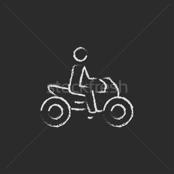 Rider on a motorcycle icon drawn in chalk. Stock photo © RAStudio