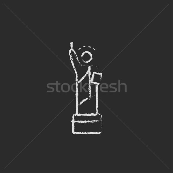 Stock photo: Statue of Liberty icon drawn in chalk.