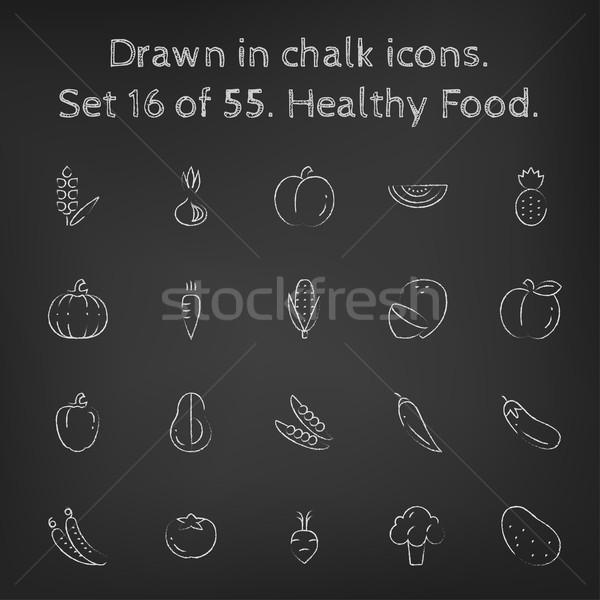Stok fotoğraf: Sağlıklı · gıda · tebeşir · tahta