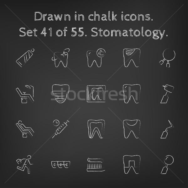 Stomatology icon set drawn in chalk. Stock photo © RAStudio