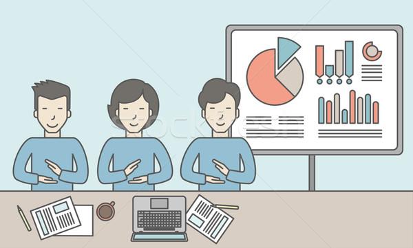 Negócio relatório pessoas de negócios sessão escritório gráficos Foto stock © RAStudio