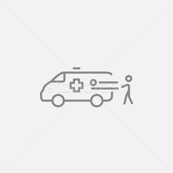 Férfi beteg mentő autó vonal ikon Stock fotó © RAStudio