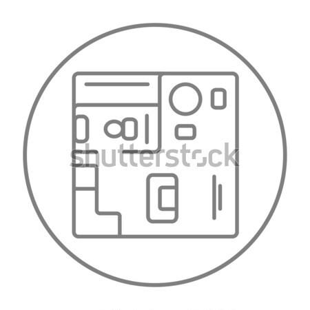Házbelső bútor vonal ikon háló mobil Stock fotó © RAStudio