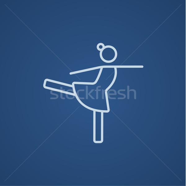 женщины Рисунок фигурист линия икона веб Сток-фото © RAStudio